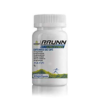 Unived RRUNN Electrolyte Caffeine Salt Caps, Hydration Minerals for Active Race & Recovery, Sodium