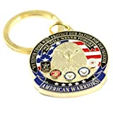 American Warriors Key Ring Military Keychains Patriotic Keychains Men Women Veterans
