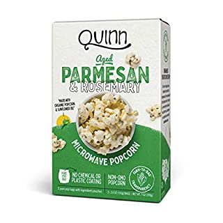 Quinn Snacks Microwave Popcorn - Made with Organic Non-GMO Corn - Aged Parmesan & Rosemary, 7 Ounce (Pack of 1)