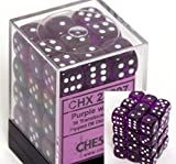 Chessex Dice D6 Sets: Purple with White Translucent - 12Mm Six Sided Die (36) Block of Dice