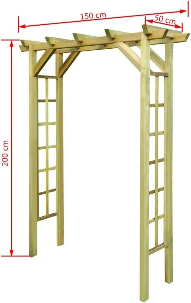 BNT Gartenlaube Rosenbogen 150 x 50 x 200 cm Holz Impr/ägniert