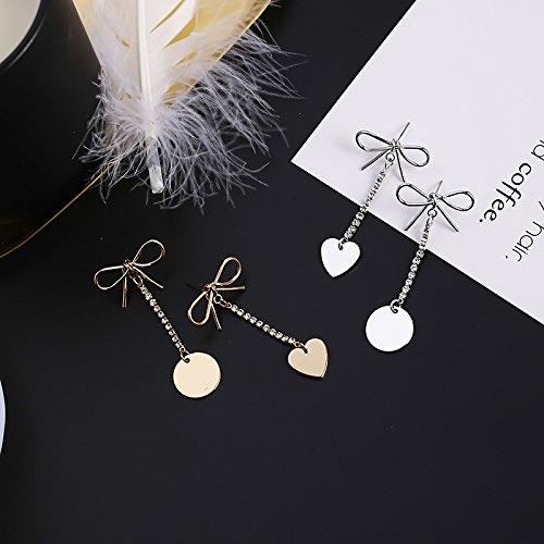 New Korean version of the small fresh sweet left-right asymmetry bow earrings diamond medallion Heart-shaped earring