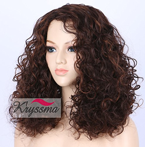 K'ryssma Cheap Short Curly Wig - Realistic Looking Brown with Highlights Glueless Synthetic Wigs for Women Heat Resistant (Cheap Brown Wigs)