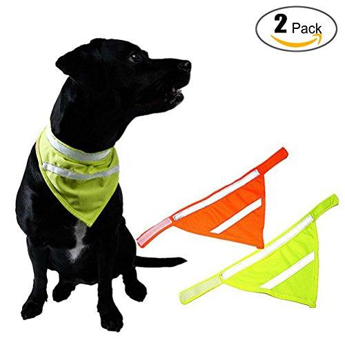 Dog Bandanas Reflective Dog Scarf Velcro Dog Bandana Cat 2-Pack Yellow&Orange (Orange Dog Bandana)