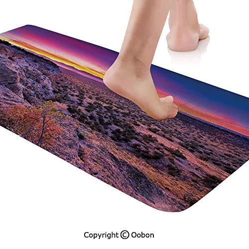Hudson Valley Rise - Nature Decor Rug Runner,Surreal Sunrise Sky Horizon Over Mountain Valley National Monument Dusk Print,Plush Door Carpet Floor Kitchen Decor Mat with Non Slip Backing,71 X 24 Inches,Purple Blue