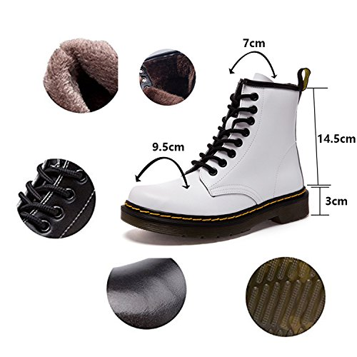 Up Fur Boots Classic Men Fur Warm Faux Winter Boot Shoes Lace Flat Martin Waterproof Lined white Short Ankle Snow Women Leather ukStore Lining Combat Outdoor qzI00T