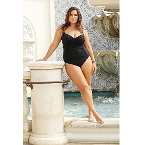 30c63088548d8 La Blanca Women s Island Goddess Over The Shoulder Rouched Front Bandeau  One Piece Swimsuit