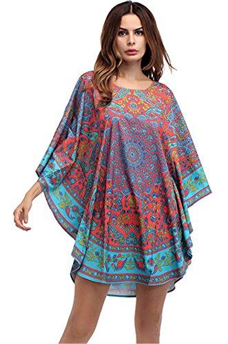 Arctic Cubic 3/4 Sleeve Kimono Sleeve Ethnic Tribal African Aztec Paisley Mini Swing Trapeze Dress Tunic ()