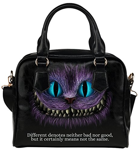 Female High-grade PU Leather Shell Shoulder Handbags Top Handle Bags Purse with Alice In Wonderland Black Cheshire Cat Different Pattern - Alice Pattern