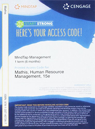 MindTapV2.0 Management, 1 term (6 months) Printed Access Card for Mathis/Jackson/Valentine/Meglich's Human Resource Management, 15th