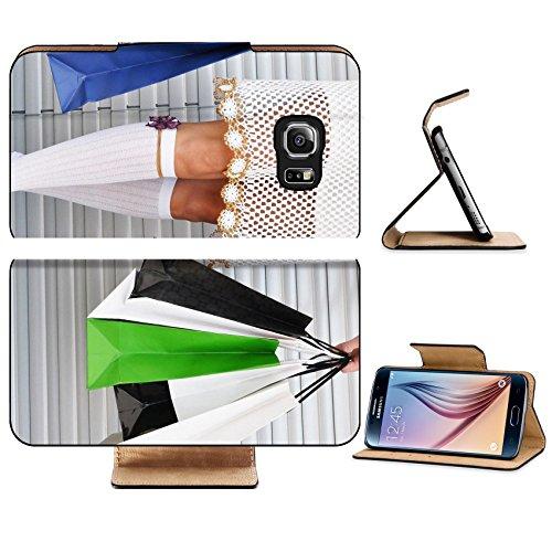 Luxlady Premium Samsung Galaxy S6 Edge Flip Pu Leather Wallet Case IMAGE ID 8065539 Girl with a bunch of shopping (Xmen Fancy Dress)