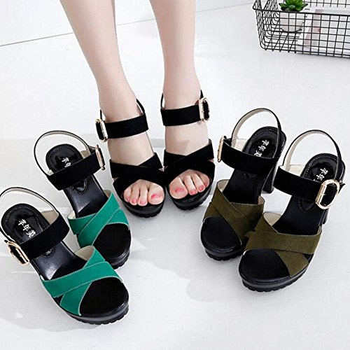 Girls L@YC Women Sandals Word Buckle Thick High With Waterproof Platform Summer 2017 Slope With Large Size Shoes , black , 42