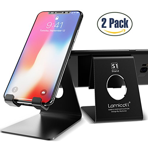 Cell Phone Stand, Lamicall iPhone Stand : [2 Pack] Desktop Holder Cradle, Dock For Switch, all Android Smartphone, iPhone 6 6s 7 8 X Plus 5 5s 5c charging, Universal Accessories Desk - Black from Lamicall
