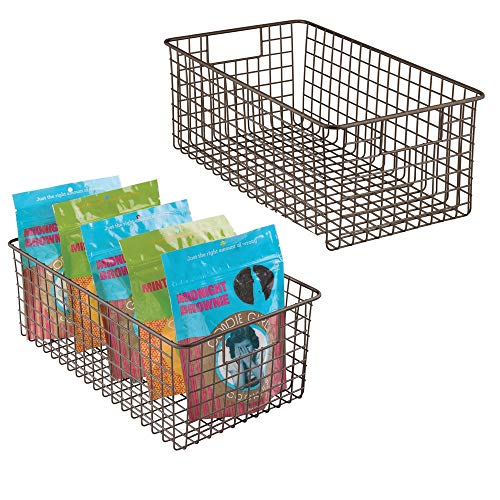 mDesign Farmhouse Decor Metal Wire Food Organizer Storage Bin Baskets with Handles for Kitchen Cabinets, Pantry, Bathroom, Laundry Room, Closets, Garage - 16 x 9 x 6 in. - 2 Pack - Bronze ()
