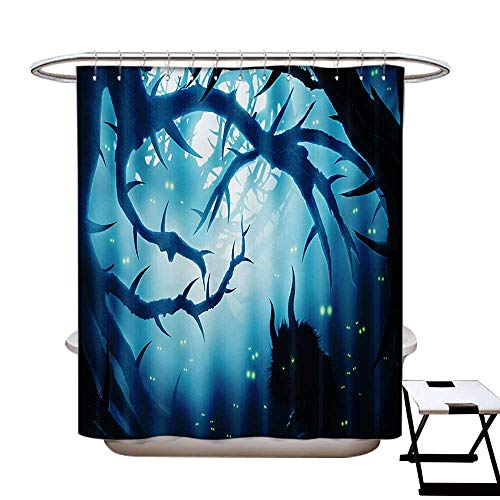 Mystic Shower Curtain Customized Animal with Burning Eyes in The Dark Forest at Night Horror Halloween Illustration Bathroom Accessories W72 x L84 Navy White -