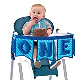 """Little Buddy Boys' 1st Birthday Party Deluxe High Chair Decoration , Blue, Fabric , 37"""", Pack of 1"""