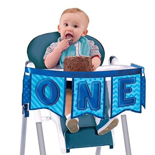 Amscan Little Buddy Boys' 1st Birthday Party Deluxe High Chair Decoration , Blue, Fabric , 37