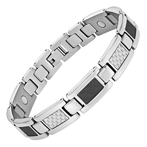 Mens Carbon Fiber Titanium Magnetic Bracelet Adjustable By Willis Judd Carbon Fiber Magnetic Bracelet