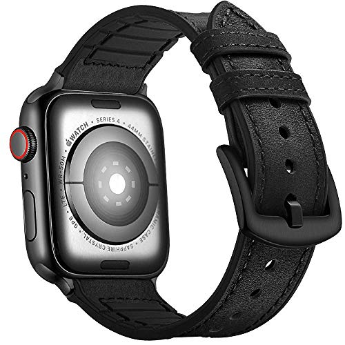 Mifa Hybrid Sports band compatible with Apple Watch vintage Leather Bands Black Replacement strap Sweatproof classic dress iwatch series 4 3 nike space black 44mm 42mm men women HB (44mm/42mm ()