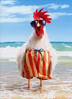 Rooster Wears Swimsuit Funny Birthday Card