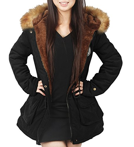 Ilovesia Womens Hooded Winter Coats Faux Fur Lined Parkas