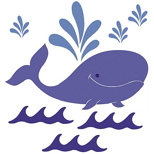 Wallies Big Mural - Wallies 15300 Whimsical Whale Wallpaper Mural, 3-Sheet