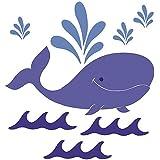 Wallies 15300 Whimsical Whale Wallpaper Mural, 3-Sheet