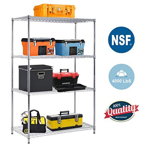 - 4-TierWireShelvingUnit Steel Large Metal Shelf Organizer Garage Storage Shelves Heavy Duty NSF Certified Commercial Grade Height Adjustable Metal Rack 4000 LBS Capacity 24D x 48W x 72H Zinc