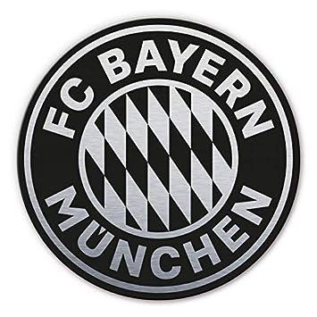 Alu Dibond Mit Silbereffekt Wandbild Fc Bayern Munchen Logo Rund Silber Schwarz Bundesliga Fussball Mannschaft Vereinswappen Sportverein Mit