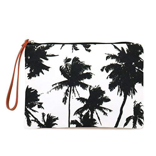 (Seven Island Women Leather Canvas Cute Tropical Print Unisex Portable Travel Evening Cosmetic Makeup Zipper Purse Wrist Pouch Clutch Wallet Handbag Bag (Black and White Palm Trees))