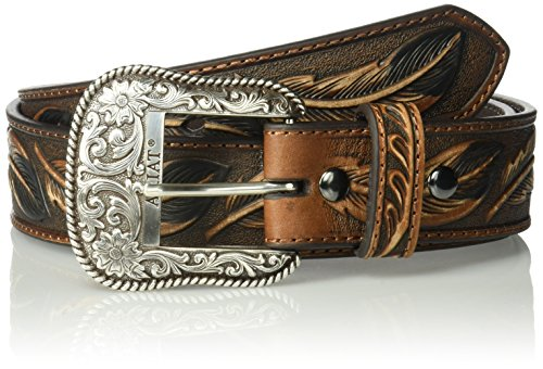 Ariat Men's Feather Embosed Belt, brown, 36 (Western Mens Belts Leather)