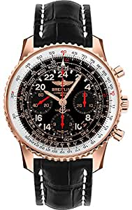 Breitling Navitimer Cosmonaute Rose Gold on Black Crocodile Leather Mens Watch RB0210B5-BC19-743P
