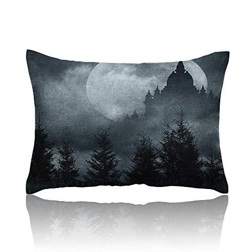 Anyangeight Halloween Mini Pillowcase Magic Castle Silhouette Over Full Moon Night Fantasy Landscape Scary Forest Fun Pillowcase 20