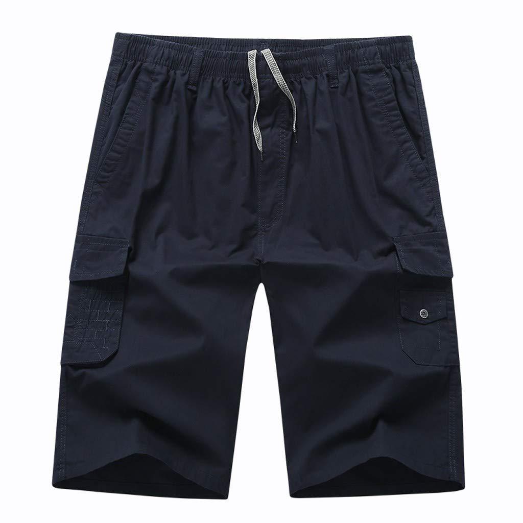 Balakie Mens Summer Beach Shorts with Elastic Waist Drawstring Lightweight Slim Short Pants with Pockets