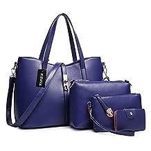 Tibes Fashion Women's PU Leather Handbag+Shoulder Bag+Purse+Card Holder 4pcs Set Tote