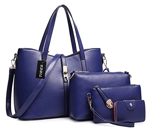 Tibes monedero la PU PU profundo de 4pcs de de determinado de bolso hombro de Profundo de tarjeta sostenedor las Bolso la mujeres la Azul Azul de manera la cuero rwqUIxr8