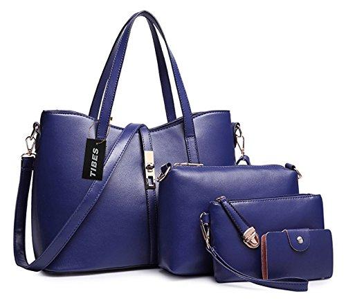 tarjeta la PU manera la de de monedero de de 4pcs de de de hombro la mujeres bolso Azul Profundo determinado Bolso la PU sostenedor Tibes Azul las cuero profundo qXIxCgwB
