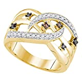 Roy Rose Jewelry 10K Yellow Gold Ladies Cognac-Brown Colored Diamond Openwork Crossover Strand Band 1/3 Carat tw ~ Size 7