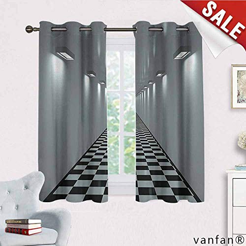 Tiled Buddha Art - Big datastore Apartment Decor Collection Curtain,Long Corridor Ceiling Lights Tiled Floor Minimalistic Design Office Interior Art Home Furnishings Decor by,Grey Black W55 x L72