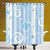 Unique Shower Curtain 3.0 [Christmas,Swirled Lines Snowflakes and Butterflies Fantastic Festive Abstract Winter Decorative,Baby Blue White] Polyester Fabric Bath Decorative Curtain Ideas