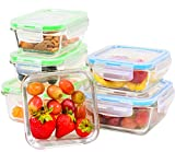 Elacra Glass Food Storage Containers with Lids - Perfect for Storing Food and Packing Lunch - Microwave and Freezer Safe - Meal Prep Glass Containers, 6-Pack