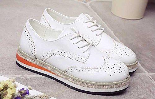 Chfso Mujeres Con Estilo Sólido Brogue Punta Redonda Lace Up Low Top Plataforma De Tacón Medio Oxfords Zapatos Blanco