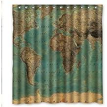 Custom Fashionable Vintage Style World Map Pattern Waterproof Fabric Bathroom Shower Curtain 66 X 72