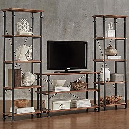 Amazon Com Myra Vintage Industrial Modern Rustic 3 Piece Tv Stand
