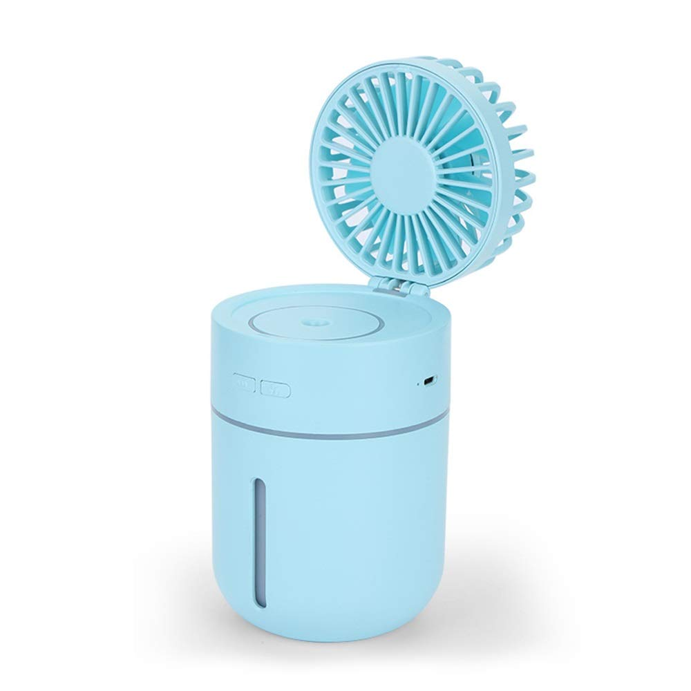 Air Cooler Personal Air Conditioner Fan Mini Portable Air Cooler, Humidifying Spray Cooling Fan Mini USB Charging Fan Car Air Humidifier Small Fan (Color : Blue) by LyJ+evanism