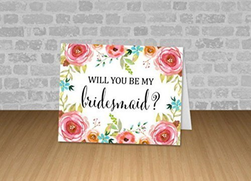 Wedding Party Note card A2 Note Card Wedding Floral Wedding Hand-Lettered Single Will You Be My Maid of Honor