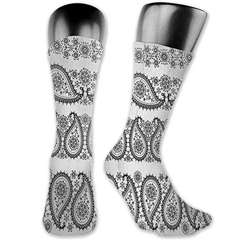 - Sock for Male Wedding Birthday Party Gifts Paisley,Winter Themed Design and Lace Like Ornaments with Flowers and Snowflakes Art,Black and White,socks for toddler boys with grip