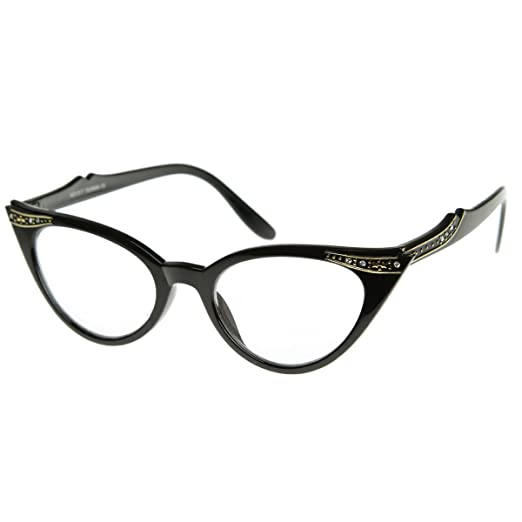 0bc21a774d Vintage Cateyes 80s Inspired Fashion Clear Lens Cat Eye Glasses with  Rhinestones (Black)
