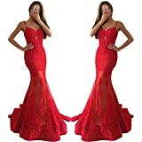 QueenBridal Women Red Lace Mermaid Prom Dresses Spaghetti Straps Evening Gown