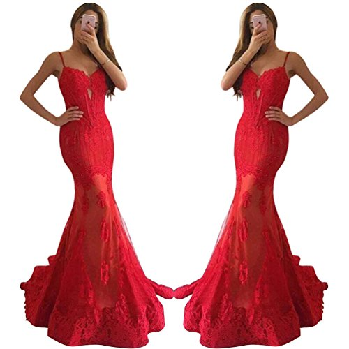 QueenBridal Women Red Lace Mermaid Prom Dresses Spaghetti Straps Evening Gown by QueenBridal